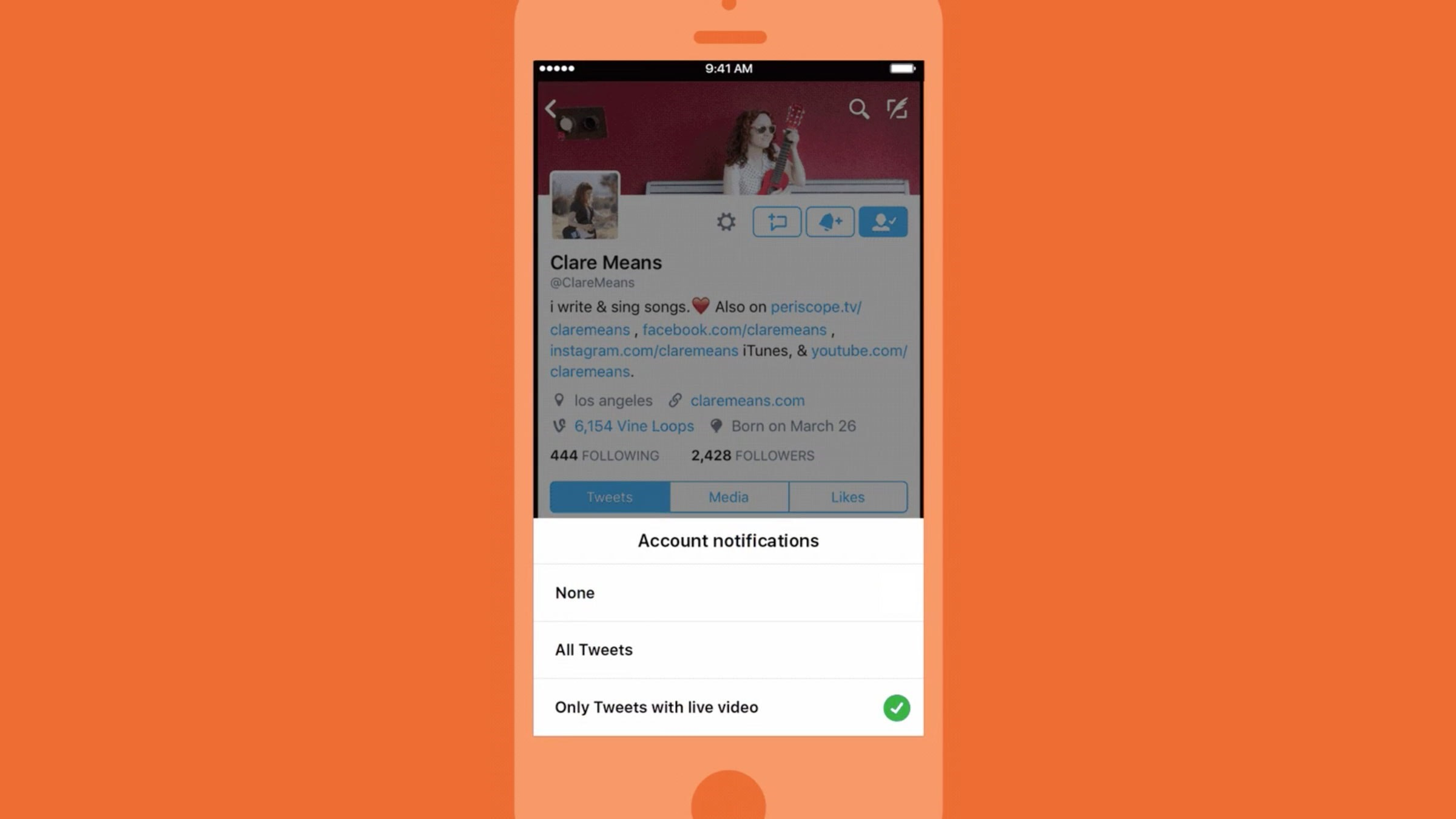 Twitter can now alert you when someone you follow starts live…
